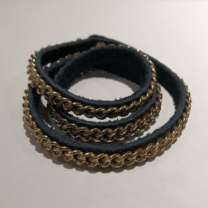 Chain Link & Leather Wrap Bracelet
